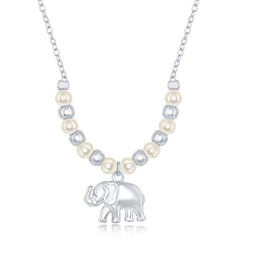 (Sterling Silver Alternating Freshwater Pearl & Polish Bead Elephant Charm Necklace )