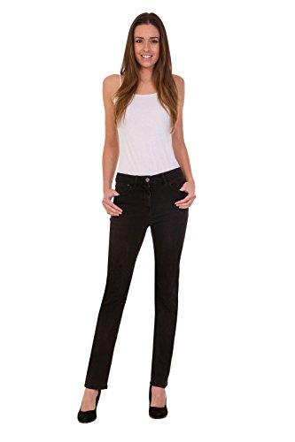 FashionLabels4Less Ex High Street Brand 6360 Ladies Straight Leg Denim Jeans Added Stretch Black