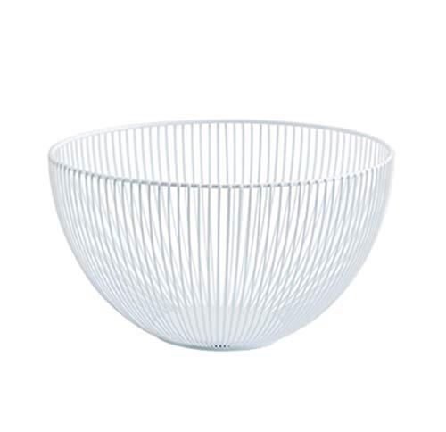 (CFJKN Metal Wire Countertop Fruit Bowl Basket, Fruit Basket Holder Large Hemisphere Decorative Fruit Bowl Centerpiece Fruit & Vegetables Storage Basket,White_25x17x10cm/10x7x4inch)