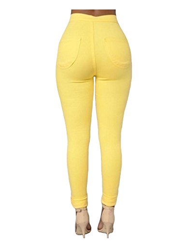 Jueshanzj crayon jeans couleur haute Blanc Femme de bonbon skinny Pantalon taille jeans Y0qYcFra