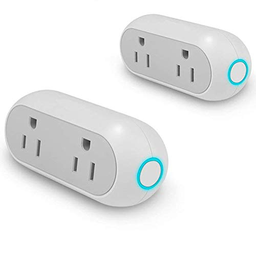 Smart Plug WiFi Dual Mini Outlets Design,feeleye Smart Socket No Hub Required Remote Control Your Devices from Anywhere Timing Function Compatible with Alexa and Google Home,ETL Listed 2-Pack