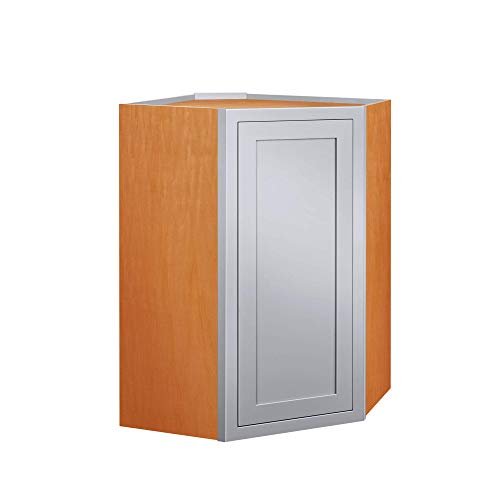 - Inset Modern Shaker Style RTA Birch Wood Wall Diagonal Corner Storage Cabinet for Kitchen 27-Inch Wide, 39-Inch High and 14-Inch Deep with One Solid Door and Two Shelf Boards