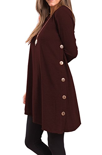 Burgundy Sweater - iGENJUN Women's Long Sleeve Scoop Neck Button Side Sweater Tunic Dress,S,Burgundy