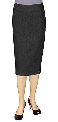 Baby'O Clothing Co. Below the Knee Stretch Denim Black Pencil Skirt 8 - Co Black Denim
