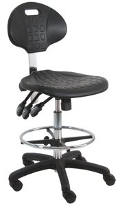 BenchPro Deluxe Polyurethane Chair/Stool with Nylon Base and Footring, 450 lbs Capacity, 18.5'' Width x 18'' Depth, 23''-33'' Seat Height, Black, 3 Lever control