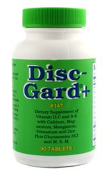 Disc-Gard+ - 90 Tablets - High-potency formulation of vitamins and minerals. Joint Wellness Dietary Supplement of Vitamin D, C and B-6 with Calcium, Magnesium, Manganese, Potassium, Zinc, Glucosamine HCL and M.S.M. by Dee Cee Labs