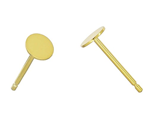 4 Pairs 14k Gold on Sterling Silver Earring Posts | 4mm Small Flat Board Glue On Post Setting W/Earnut Safety Clutches Backs SS277-4 ()