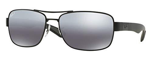 Ray-Ban RB3522 006/82 64M Matte Black/Grey Silver Mirror Polarized Sunglasses For - Black Mirror Grey Silver Polarized