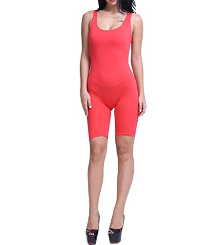 CoCo Fashion Women's Solid Color Stretch Sport Short Jumpsuits Rompers Red X_Large