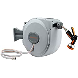 Garden Hose-Reel with 10 Adjustable Sprayer Nozzle 5/8 in. x 65 FT Water Hose, Retractable Hose Reel by Giraffe