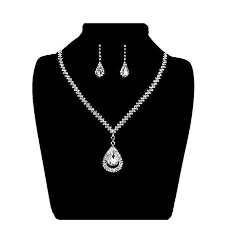 UDORA Crystal Tears Flower Necklace Earrings Bridal Wedding Party Jewelry Sets (Tears)