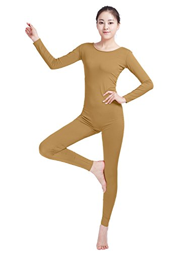 Ensnovo Womens Spandex Bodysuit Long Sleeve Scoop Neckline Footless Unitard Brown,M (Footless Unitard)