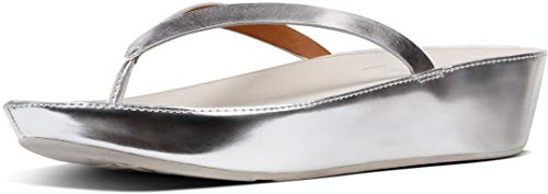 FitFlop Womens Linny Toe Thong Mirror Sandal Shoes, Silver Mirror, US 10