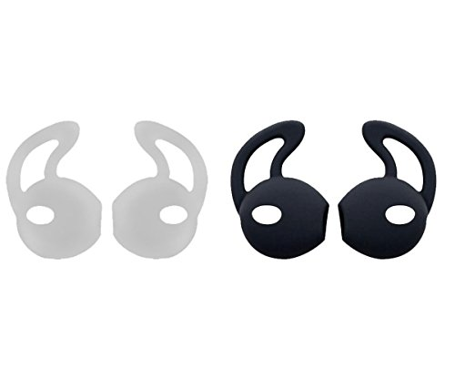 ZZoo Earpod cover Secure Fit Grip Compatible with iPod touch nano, shuffle, iPhone 5, and iPhone 6 Earphone Earbuds Headphones - Perfect For Running Exercise Gym and Sports (1Back+1White)