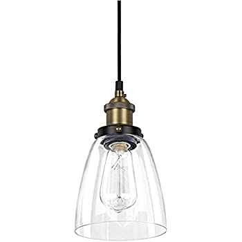 Glass Pendant Light   Industrial Edison Mini One Light Clear Fixture  Antique Lighting ALHAKIN