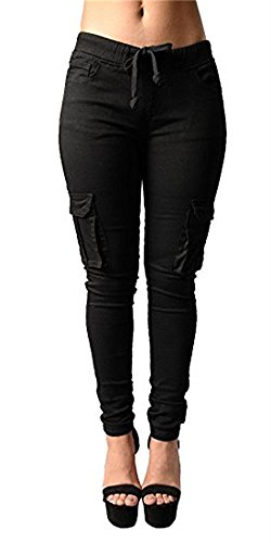 Ferbia Womens Drawstring Skinny Pants Tie Waist Casual Cargo Jogger Pants Ankle Length Trousers Black Cargo Trousers