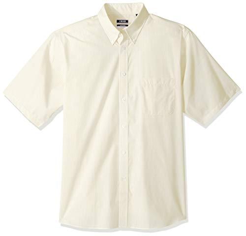 IZOD Men's Regular Fit Short Sleeve Check Dress Shirt, Sunburst, 17.5