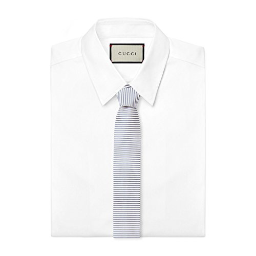 Gucci Men's Blue Striped 100% Silk Woven Twill Tie ()