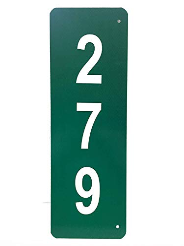 Custom Reflective Green 911 Address Aluminum Sign (Numbers on ONE Side) (Green House Numbers)