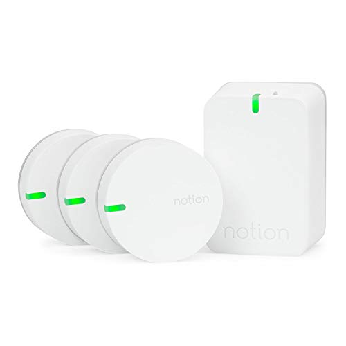 (Notion Smart Home System (Gen 3): Monitor and Receive Alerts on Doors, Windows, Water Leaks, Sounding Alarms. Works with Nest (1 Bridge + 3 Wireless Sensors))