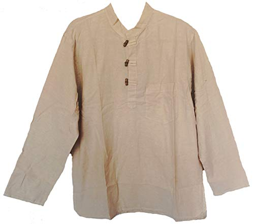 Mens Tunic Handloomed Cotton 3-Wooden Button Loop Closure, Mandarin Collar (XXL/XXXL, Natural)