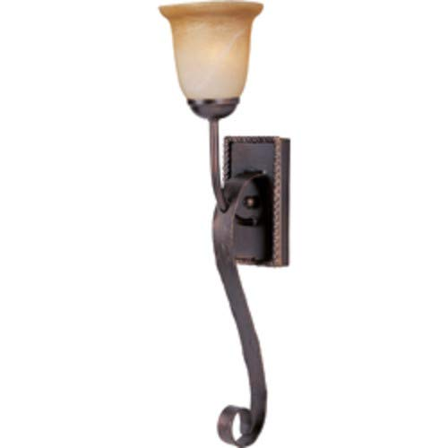 (Maxim 20618VAOI Aspen 1-Light Wall Sconce, Oil Rubbed Bronze Finish, Vintage Amber Glass, MB Incandescent Incandescent Bulb , 60W Max., Dry Safety Rating, 2700K Color Temp, Standard Dimmable, Glass Shade Material, 8064 Rated Lumens)