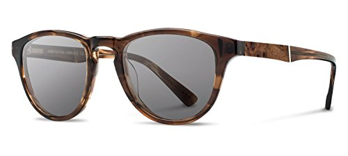 Shwood - Francis Acetate, Sustainability Meets Style, Bourbon/Elm Burl, Grey Polarized - Face Shape Oval Best For Sunglasses