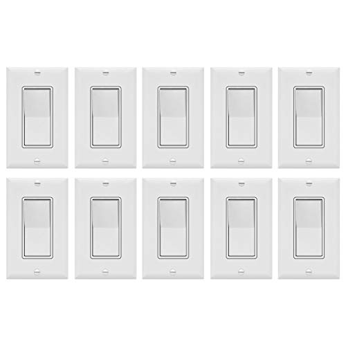 - Enerlites Decorator On/Off Paddle Wall Switch with Covers, 91150-WWP | 15 Amp, 120-277VAC, Single Pole, 3 Wire, Grounding, Residential and Commercial Graded Light Switches, UL Listed | White - 10 Pack