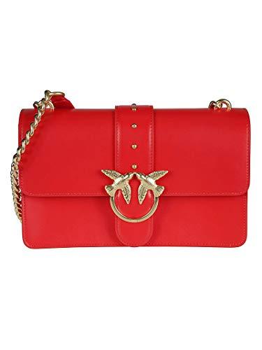 b4a8884638d1e Pinko Women s 1P21dsy5eur24 Red Leather Shoulder Bag