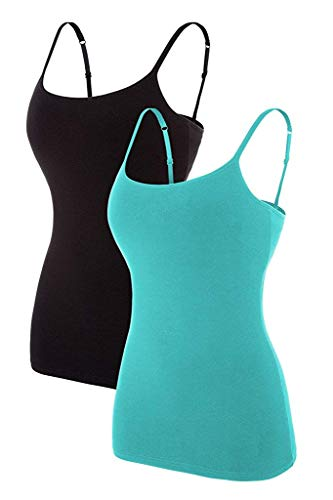 CharmLeaks Womens Camisole with Shelf Bra Camisole Tops Spaghetti Strap Long Basic Layering Aqua/Black