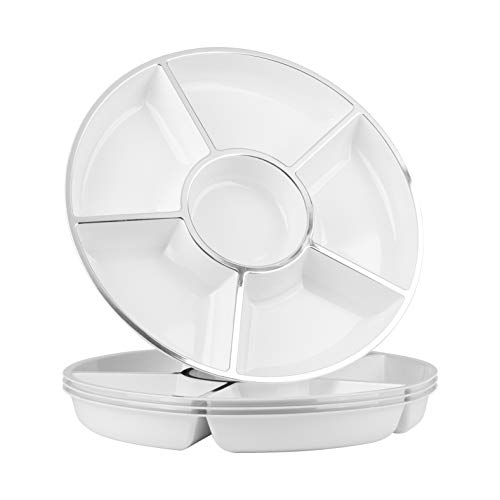 Party Bargains 6 Sectional Round Plastic Serving Tray, Size: 12 inch, Color: White/Silver, Pack of 4 ()