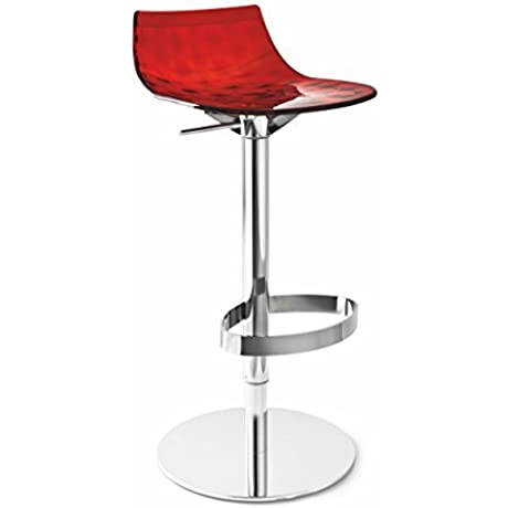 Connubia Ice Swivel Stool Metal Stained Chromed Frame Transparent Red Seat