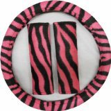 3pc Hot Pink and Black Zebra Steering Wheel Cover and Shoulder (Pink Zebra Cover)