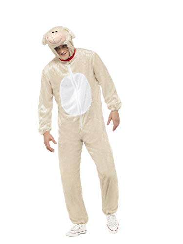 Smiffys Adult Unisex Lamb Costume, Jumpsuit with Hood, Party Animals, Serious Fun, Size L, -