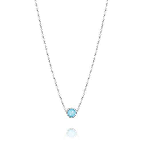 Tacori Bezel Necklace (Tacori SN15405 Island Rains Petite Sterling Silver Clear Quartz over Synthetic Turquoise Floating Bezel Necklace (16))