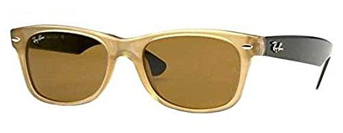 Ray-Ban New Wayfarer RB 2132 Sunglasses Honey / Crystal Brown Polarized 55mm & HDO Cleaning Carekit - Ban Wayfarer Ray Brown Honey