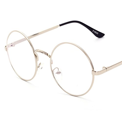 Lovef Large Oversized Metal Frame Clear Lens Round Circle Vintage Eye Glasses 5.42inch - Round Shaped Face Glasses