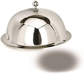 """Dome Food Plate Cover with Fancy Finial by Eastern Tabletop, 12"""" Stainless Steel – Restaurant Serving Dish"""
