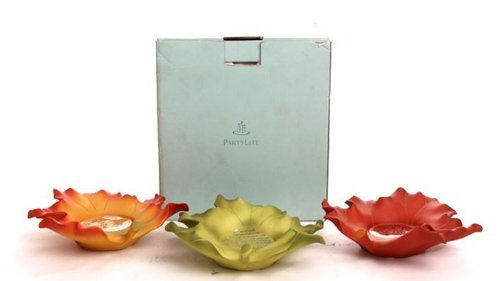 Partylite Whispering Leaves Tealight Candle Holders Set of 3