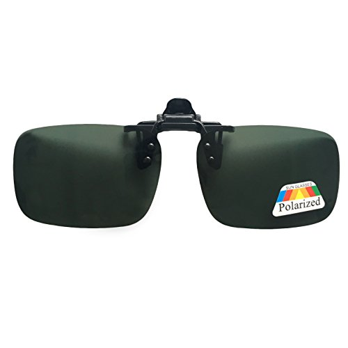 Silfrae Unisex Adults Polarized Sunglasses Clip-on Flip up Metal Clip for Driving, Hunting, Outdoor Activities (Dark Green, - On Glasses Clip Dark