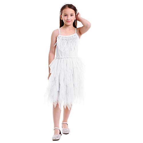 OBEEII Elegant Little Girl Swan Princess Feather Fringes Tutu Dress Pageant Party Wedding Dance Formal Birthday Short Tiered Gown White 2-3 Years]()