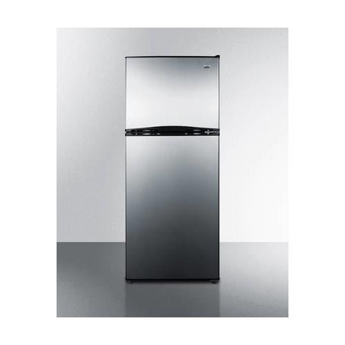 """Summit FF1085SS 24"""" Energy Star Qualified Top Freezer Refrigerator with 9.9 cu. ft. Capacity Frost-Free Operation Adjustable Glass Shelves Full Freezer Shelf Door Storage Thin-Line Design and Interior Light in Stainless"""