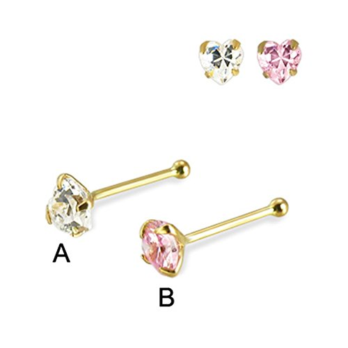 MsPiercing 14K Yellow Gold Nose Bone With Heart-Shaped Cubic Zirconia, 22 Ga, Clear - A (Yellow 14k Bone Gold Nose)