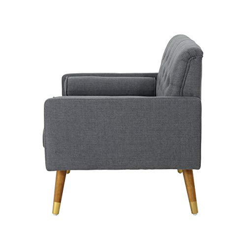 Christopher Knight Home 305843 Nour Fabric Mid-Century Modern Club Chair, Dark Gray, Natural - 3