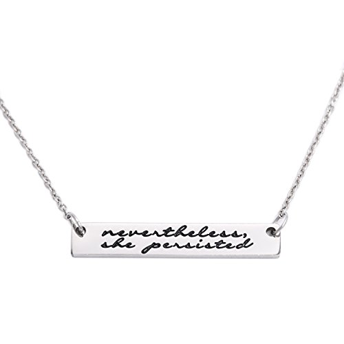 LParkin Nevertheless She Persisted Feminism Feminist Pantsuit Nation Solidarity Unity Political Affirmation Necklace (Bar-Necklace)
