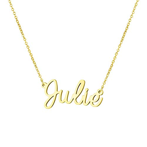 Yiyang Graduation Gift for Girls Personalized Name Necklace 18K Gold Plated Stainless Steel Jewelry Julie]()
