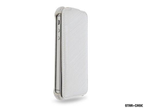 "STAR-CASE ""Star-Case"" ® Flip ""Roma"" Linea für Apple IPhone 5 , 5S Echt Leder White"
