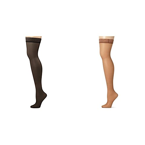 Hanes Women's Silk Reflections Thigh Highs, Jet/Barely There, C/D (Lace Top Thigh High Pantyhose)