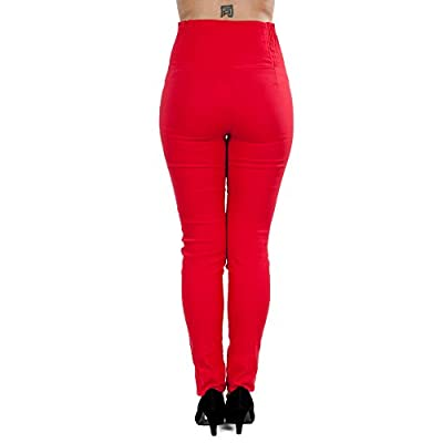 Sidecca Women's Retro Rockabilly 6-Button High Waist Smock Pant (Large, Red) at Women's Clothing store