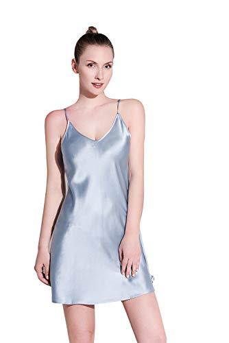 THXSILK Women's Silk Nightgown, 100% Mulberry Silk Sleepwear V Neck Spaghetti Strap Soft Smooth S-2XL, Silvery Blue